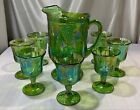 Vintage Indiana Green Carnival Glass Harvest Grape Pitcher and 7 Footed Goblets