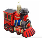 DISNEY Resort Parks RAILROAD RR Hand Painted Train Red GLASS ORNAMENT 3x5 NEW