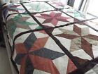 Big Star Unfinished Quilt Top Browns Greens Blues 9 Squares w Sashing 78 x 78