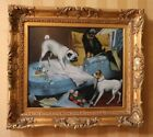 DOGS PLAYING IN BOUDOIR oil on canvas painting in ornate gilded frame SIGNED