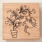 Stampendous Fluffles The Cat FLUFFLES TREE STAMP RARE RETIRED CHRISTMAS KITTY