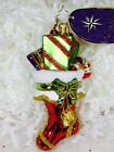Radko A Superb Stocking 3012822 Ornament w Presents Candy Cane and Bow NWT