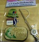 3D scrapbook stickers gone fishing themed Pole Worms hat lure sign
