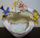 ANTIQUE ITALIAN PORCELAIN FLOWER BIRD BUTTERFLY ITALY