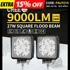 2x 27W LED WORK LIGHT OFFROAD FLOOD LAMP TRUCK BOAT BAR 12V 24V 4WD 4x4 UTE SQ