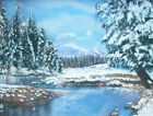 Vintage Canadian Framed Oil Pastel Drawing - Lake & Mountain View in Winter