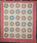 Vintage 40's Dresden Plate Hand Stitched Antique Quilt ~BEAUTIFUL FABRICS!