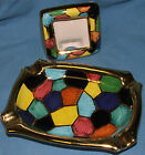 Sambuco Deruta Made In Italy Multi Color Ashtray And Small 3 1/4