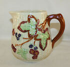 ANTIQUE MAJOLICA SHORTER, ENGLAND 40 oz PITCHER, BERRIES AND LEAVES