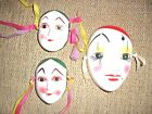 WOW 3 VINTAGE  MULTI-COLOR WALL DECOR  MARDI GRAS CLAY ART MASK