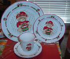 TIENSHAN COUNTRY BEAR TEDDY  THEODORE CHRISTMAS 4 PIECE PLACE SETTING EC     GG7