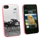 At the Track Horse Racing Vintage Snap On Case for Apple iPhone 4 4S Pink