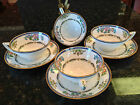 ANTIQUE MINTON BONE CHINA BLUE CHINOISERIE PATTERN B898 3 CUP AND SAUCER SETS