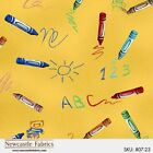 SCHOOL House Fabric PAPER dOlls-Crayons-Markers-School Supplies-Draw-FrEE SHIP