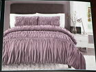 3pc SET Cynthia Rowley FULL/QUEEN Purple Plum RUCHED Comforter & Shams