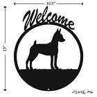 Miniature Pinscher Min Pin Black Metal Welcome Sign NEW