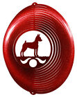 Miniature Pinscher Dog RED Metal Swirly Sphere Wind Spinner NEW