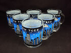 Zizo 60095 Glass Coffee Mug, 10 oz, Set Of 6, New York City Skyline, Black/Blue