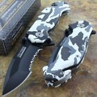 Tac-Force Speedster Snow Camo Assisted Opening Folding Rescue Pocket Knife New