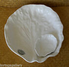 OLFAIRE MAJOLICA~POTTERY FROM PORTUGAL ~ WHITE CABBAGE CHIP + DIP SERVING DISH