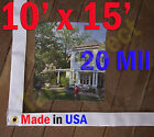 10 ft x 15 ft Clear 20 mil Vinyl Tarp Waterproof Curtain Porch Patio Enclosure