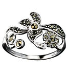 Sterling Silver Marcasite Flowers Ring size 6