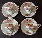 Four Made in Occupied Japan Cup and Saucer Sets Floral Pattern with Gold Band