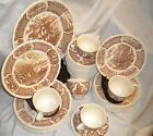 Brown Alfred Meakin China 43pc Luncheon Set Fair Winds Staffordshire England