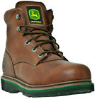 John Deere Boots JD6393 Mens 6 Safety Toe Brown Walnut Lace Up Work Boots