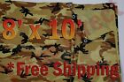 8' x 10' Camo Brown Beige Tarp Hunting Firewood Waterproof Camping Woodpile ATV
