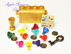 NEW Lego Pirate GOLD TREASURE CHEST w/11 Jewels/Gems Coins Map