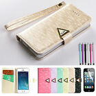 Luxury PU Leather Flip Pouch Wallet Stand Case Cover For Apple iPhone 5 5S+Film