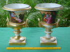 Pr Antique Hand Painted Boy & Girl Couple Gold Gilt Porcelain Campana Urn Vase
