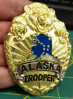 Gold Color Alaska State Trooper Large Collectible Souvenir Pin with bear