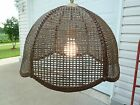VINTAGE RETRO HANGING SWAG BROWN RATTAN WICKER SCALLOPED EDGE 18' LAMP