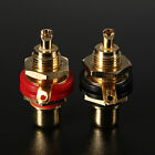 2Pcs Gold Plated Female RCA Phono Jack Panel Mount Chassis Socket Connector New