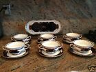 REICHENBACH Echt COBALT KOBALT GERMANY 6 SOUP CUPS + SAUCERS + SERVING PLATE