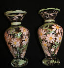 SET OF 2 TRACY PORTER HAND PAINTED DECORATIVE FLORAL GLASS VASES