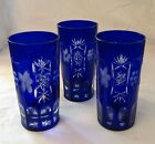 Vintage Bohemian Cut To Clear HIGH BALL Cobalt Blue Glasses Lot of THREE. #H-2