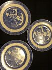 Blue Willow Set 3 Small Plates Tuscan China England Dish Collection Kitchen Vint