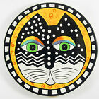 Laurel Burch Ganz Orange Salad Collector Plate WHITE BLACK FELINE CAT  8