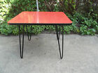 Red Retro Mid Century Vintage Table with Hairpin Legs