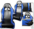 NEW 2 BLACK  BLUE LEATHER RACING SEATS RECLINABLE W SLIDER ALL CHEVROLET