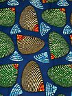 1 Yard of African  Wax Print Cotton Blue,Green Red Shell Abstract  fabric