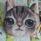 RHH HOT Kids Cute Cat Face Zipper Case Coin Purse Wallet Makeup Bag Pouch Grey