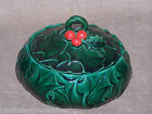 Vintage Lefton Green Holly Covered Candy Box