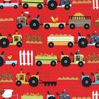 1/2 Yard Oink A Doodle Moo Tractor Garden Red by Moda 100% Cotton 30523 12 Farm