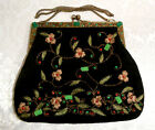 RHINESTONE EMBROIDERED CHRISTIANA VINTAGE BLACK AND GOLD EVENING HANDBAG PURSE
