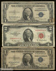 100% Rare Very Old US Silver Certificate 1 & 2 Dollar Bill Antique Bank Note Lot