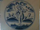 antique vtg blue & white DELFT ceramic  TILE boy going fishing ? 5'' l x 5'' w c